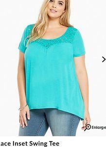 Torrid 00 Size 10 turquoise swing shirt New